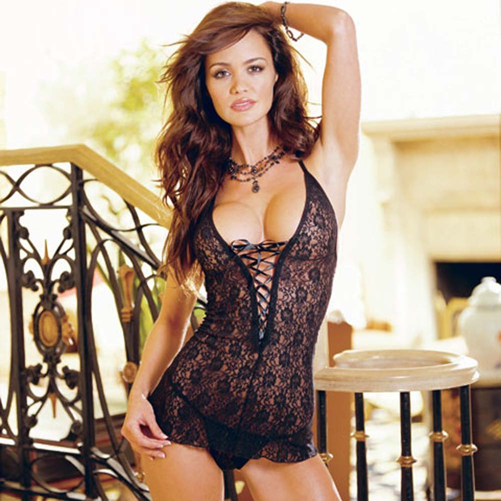 Stretch Lace Babydoll with Thong Style 3901 Black - View #2