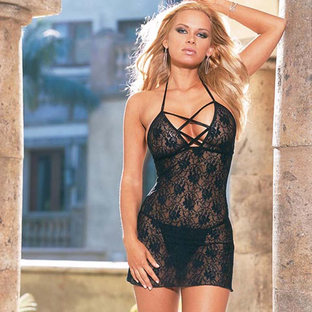 Babydoll with Thong Style 3691 Black - View #2