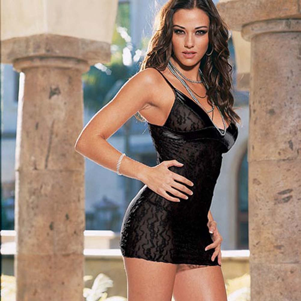 Lace and Satin Babydoll with Thong Style 3732 Black - View #2