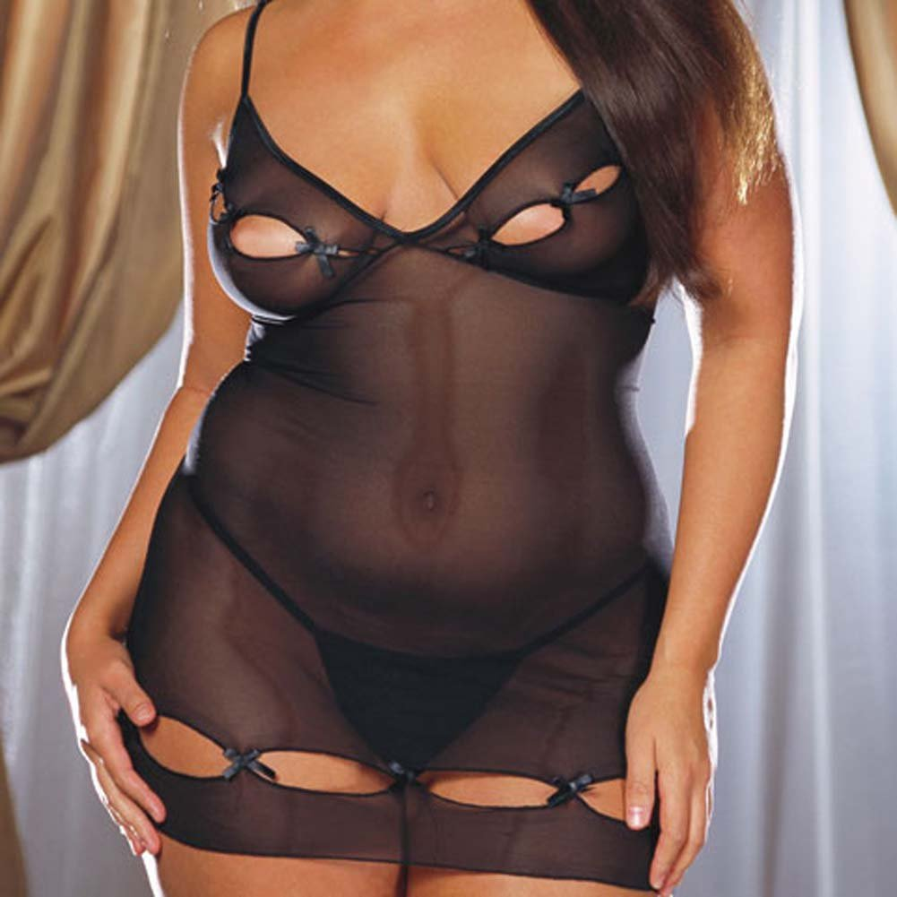 Lycra Net Keyhole Babydoll with Thong Style 3992X Black Plus - View #1