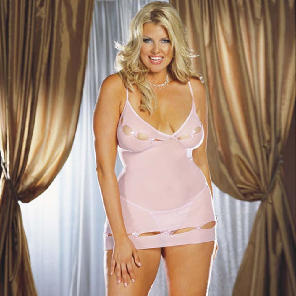 Lycra Net Keyhole Babydoll with Thong Style 3992X Pink Plus - View #2