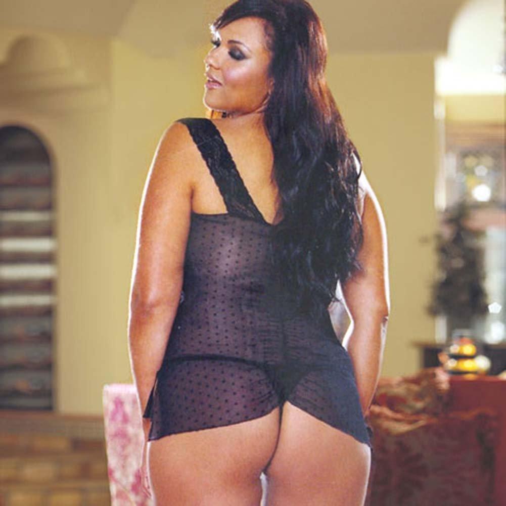 Dot Mesh Babydoll with Thong Style 4341X Black Plus - View #3