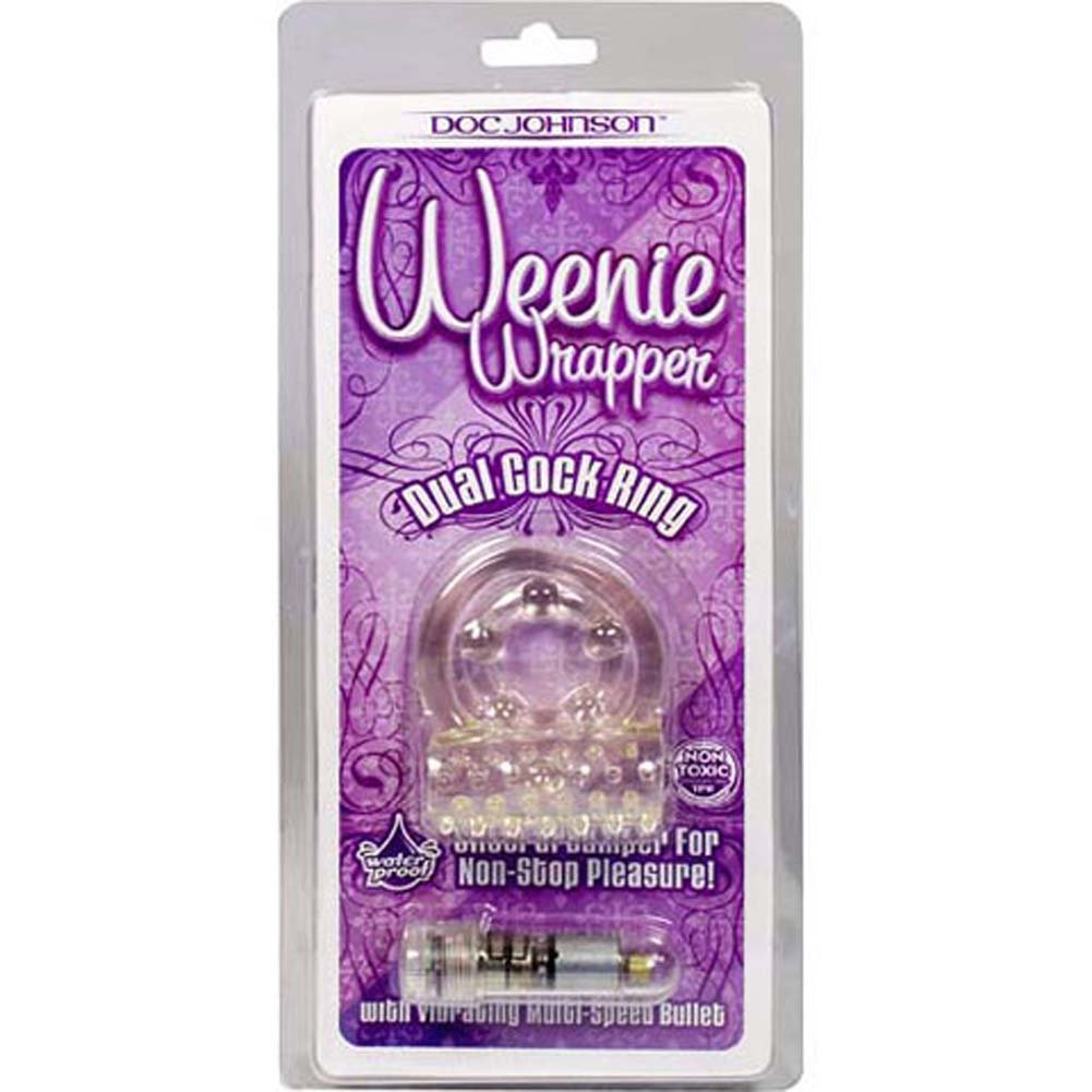 Weenie Wrapper Waterproof Vibrating Dual Cockring Clear - View #1