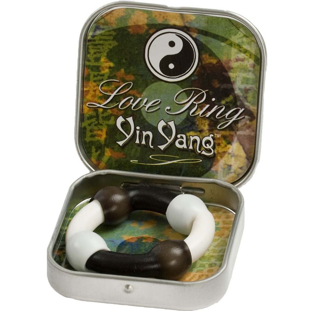 Love Ring Yin Yang Silicone Cockring Black and White - View #2