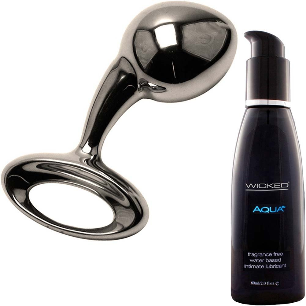 Njoy Pure Medium Metal Butt Plug With Wicked Sensual Care Aqua Lube Kit - View #2