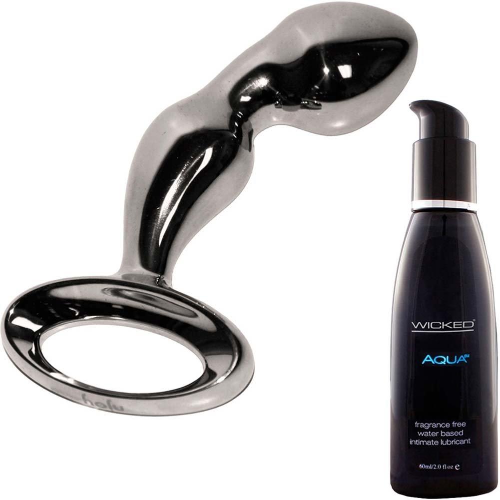 Njoy Metal Prostate Pfun Plug With Wicked Sensual Care Aqua Lube Kit - View #2