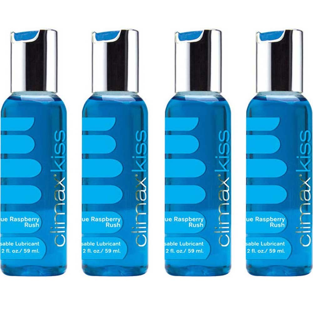 Climax Kiss BLUE RASPBERRY Rush Flavored Lubricant Kissable Lubricant Size 2 Oz 4 Pack - View #2
