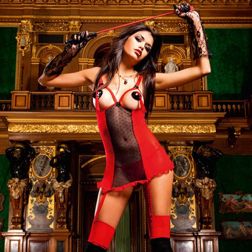 Show Me Garter Dress Red with Black Trim - View #1