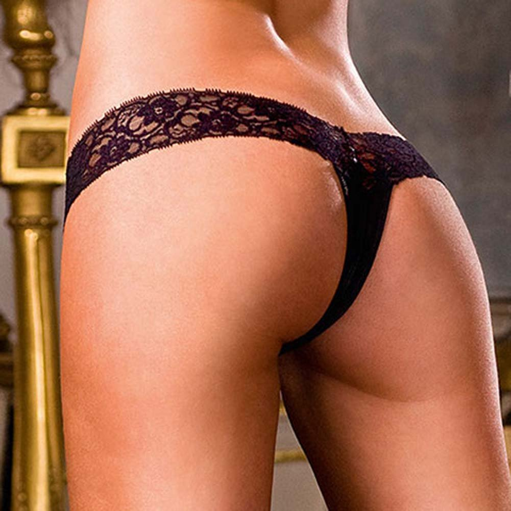 Lace Top Crotchless Panties Black Medium - View #4