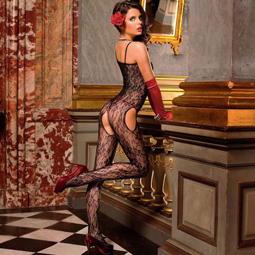 Flowered Lace Peek A Boo Bodystocking Black - View #2