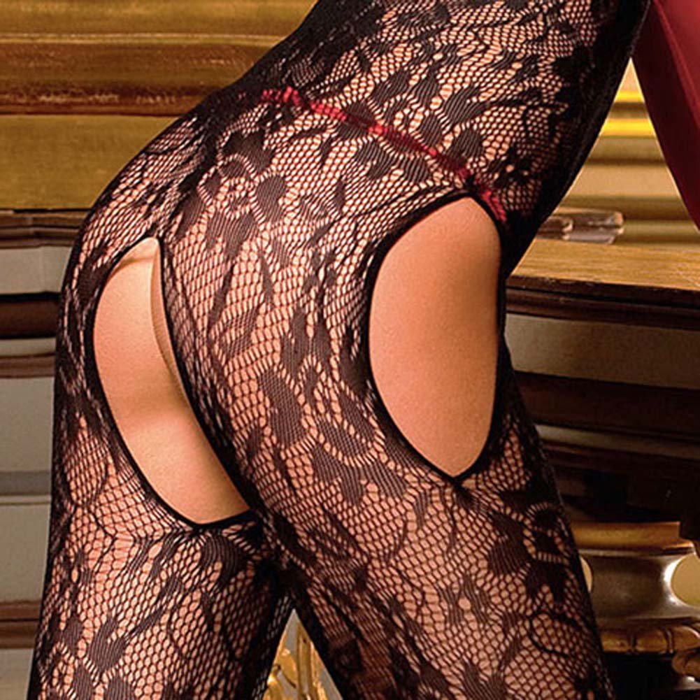 Flowered Lace Peek A Boo Bodystocking Black - View #4