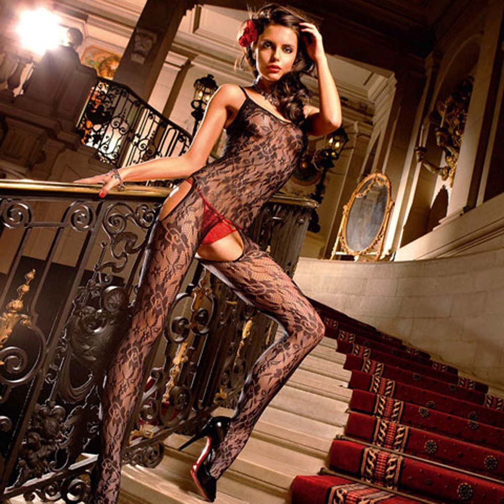 Floral Lace Open Crotch Bodystocking Black - View #1