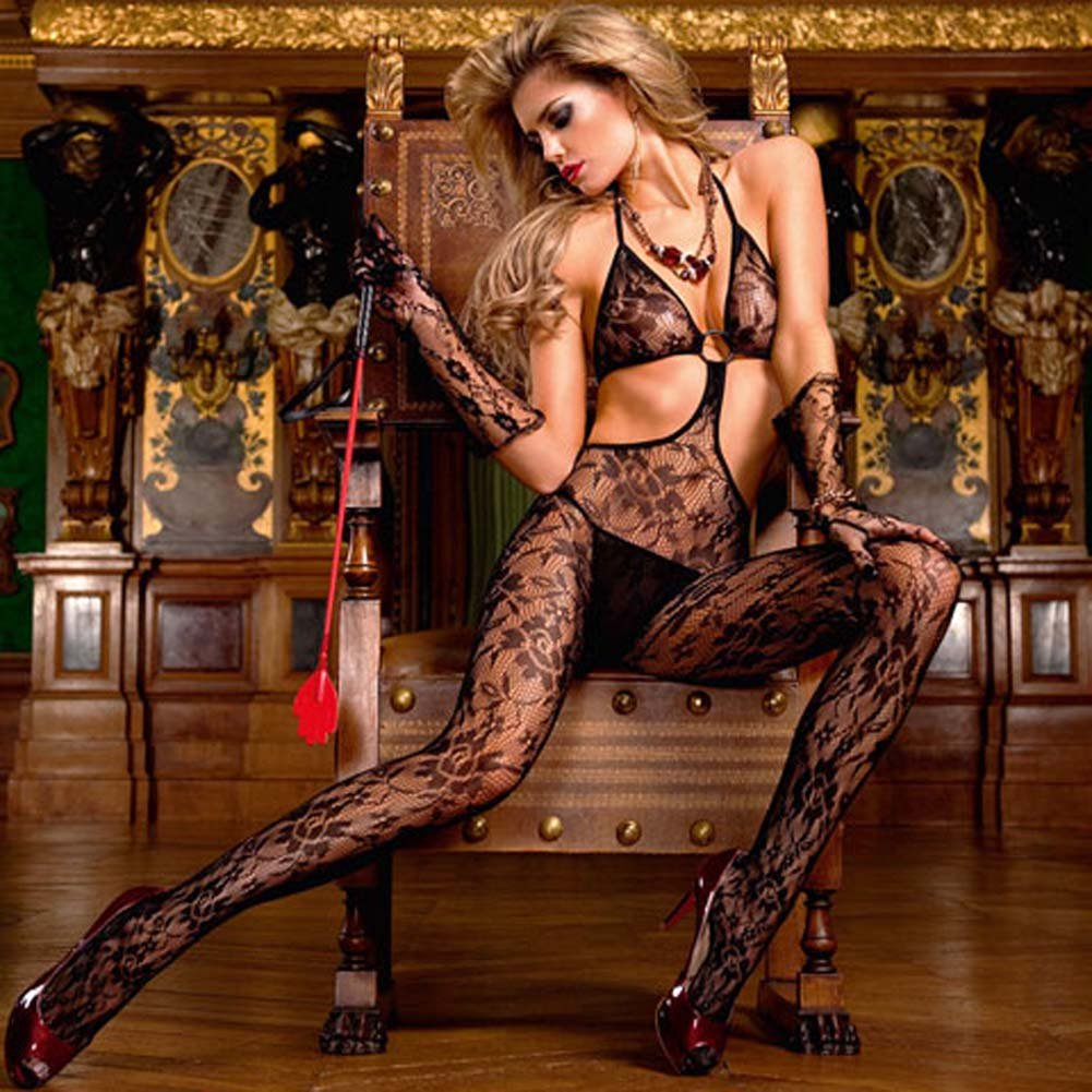 Trendy Ring and Floral Lace Bodystocking Black - View #1