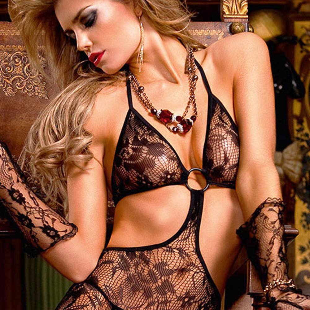 Trendy Ring and Floral Lace Bodystocking Black - View #3
