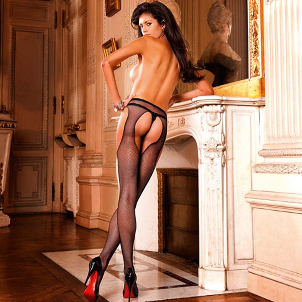 Alluring Woven Mesh Suspender Stockings Black - View #2