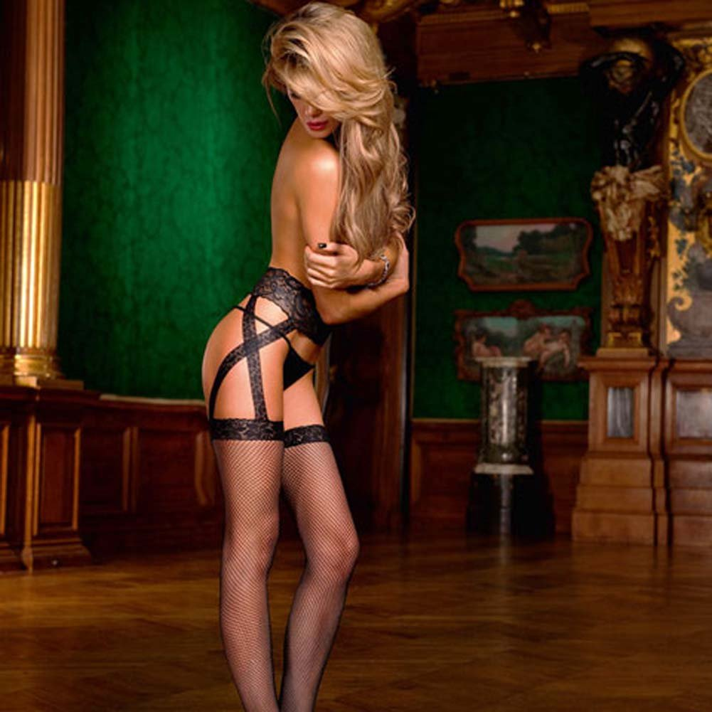 Criss Cross Lace Garter Stockings Black - View #1