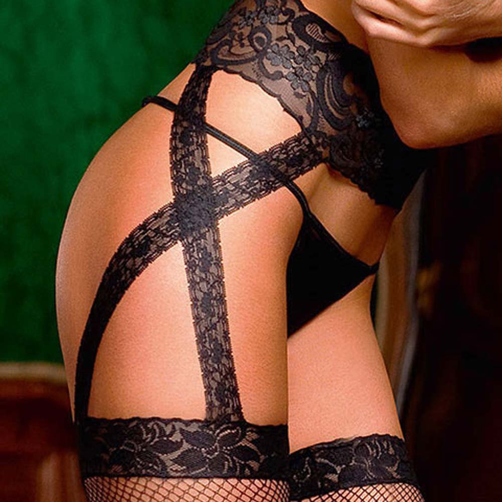Criss Cross Lace Garter Stockings Black - View #3