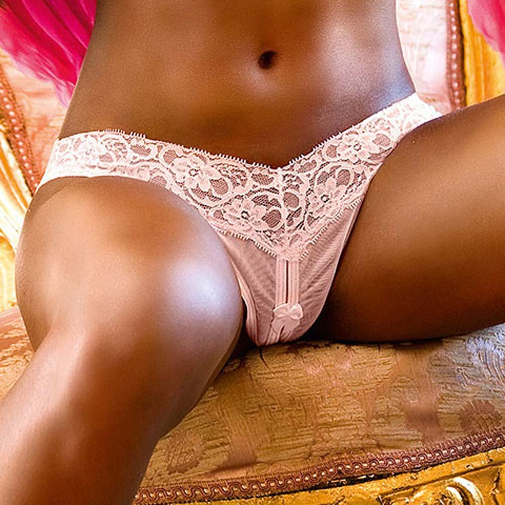 Lace Top Crotchless Panties Pink Large - View #3
