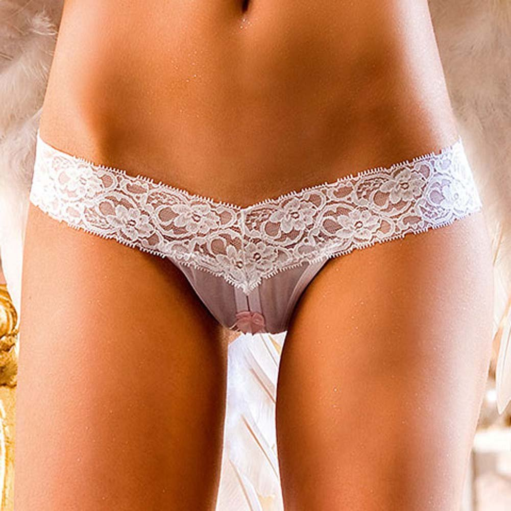 Lace Top Crotchless Panties White Medium - View #3