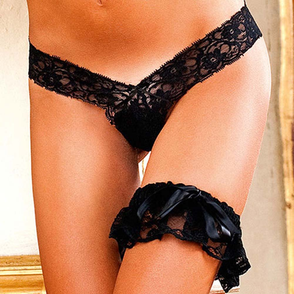 Baci Lingerie Lets Play Lacey V Cut G-String Small Black - View #3