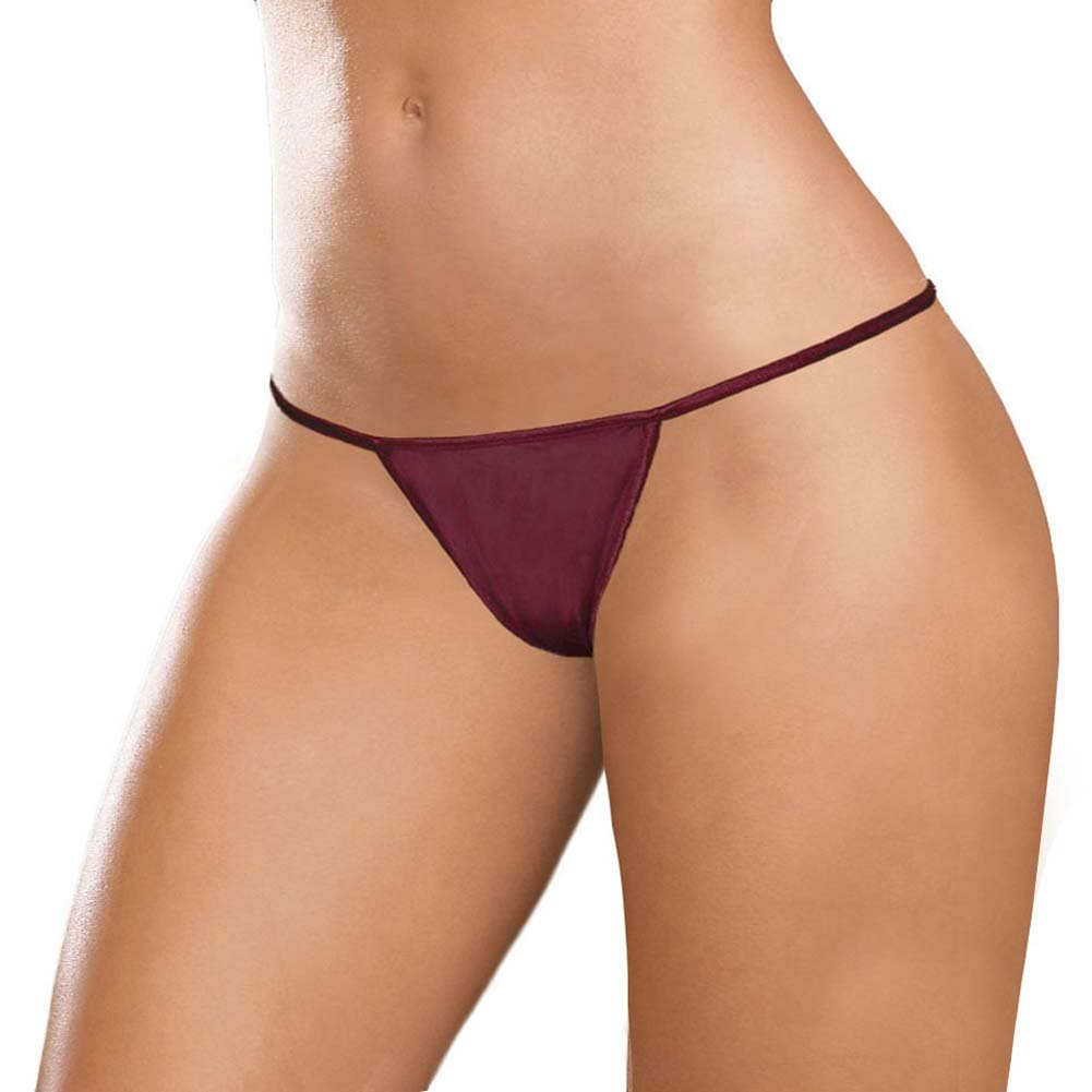 Dear Lady Collection G-String Panty Plus Size Burgundy - View #1