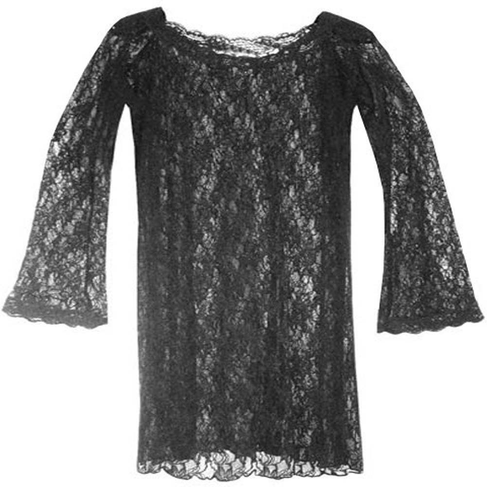 Long Sleeve Spanish Lace Dress Black Plus Size 2X - View #2