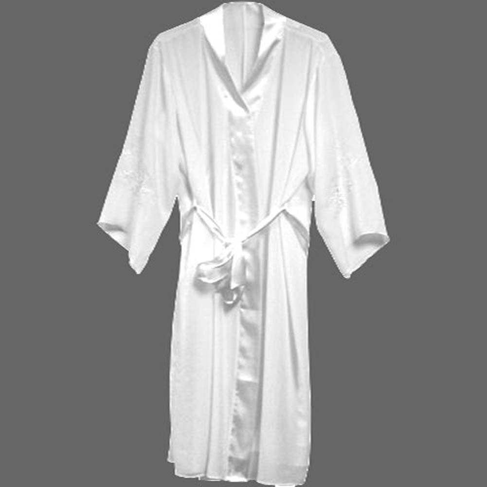 Night Sleep Sexy Wear Appliqued Sleeve Robe Plus Size 4X White - View #1