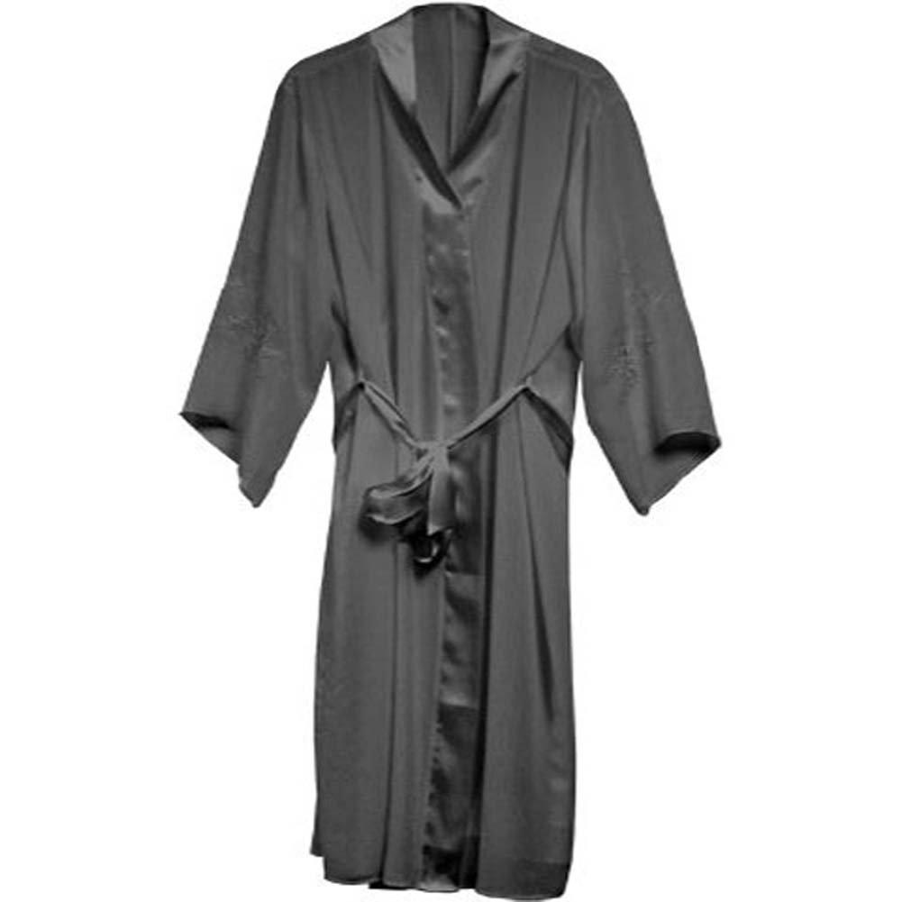 Appliqued Sleeve Robe Black Plus Size 4X - View #2