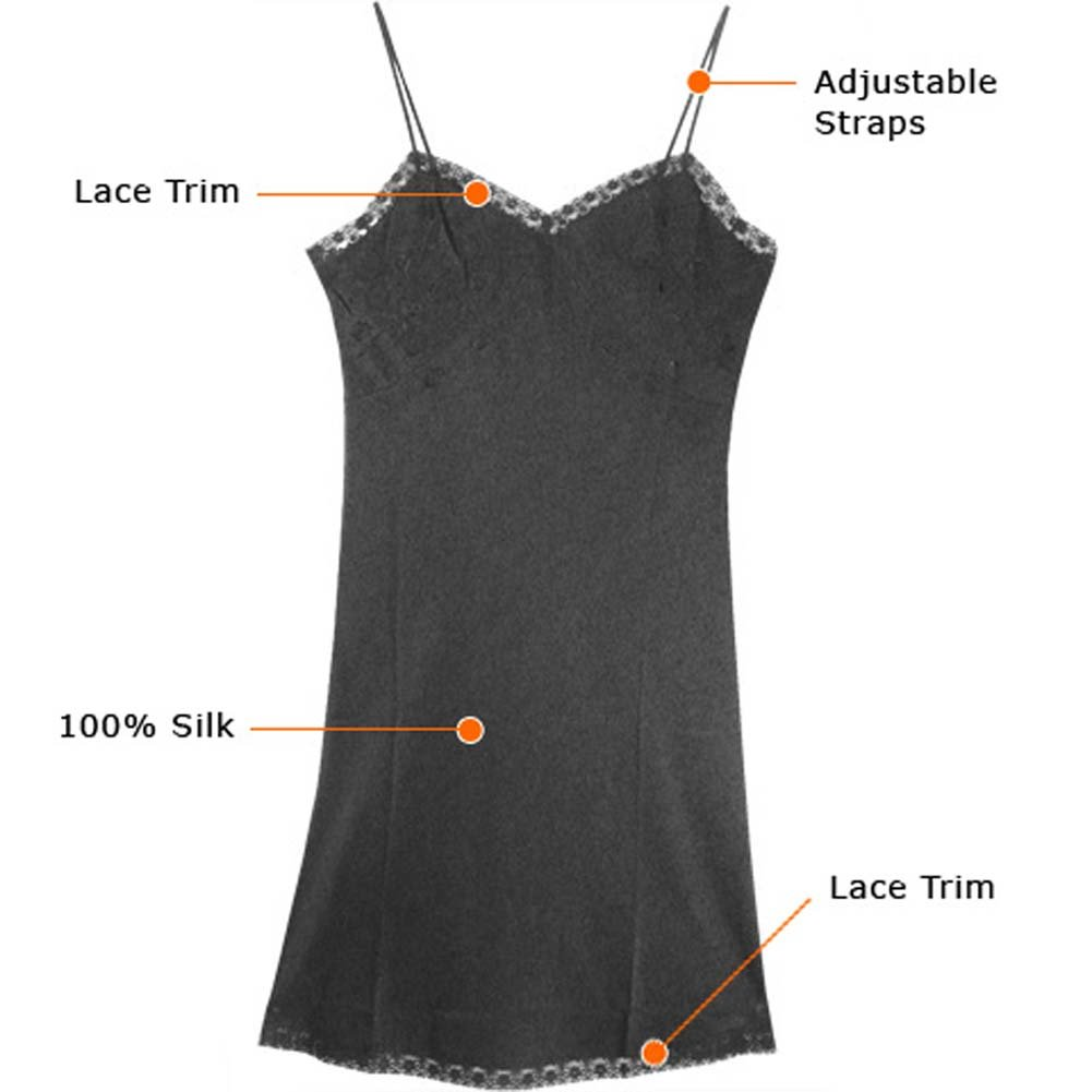 Pure Silk Chemise With Lace Trim Black Plus Size 2X - View #2