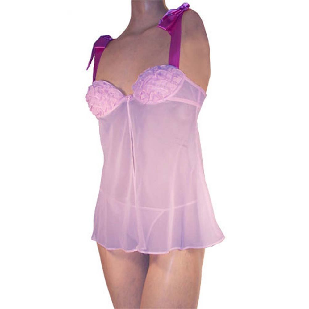 Flyaway Ruffle Cup Babydoll and Thong Set Lavender XL - View #4