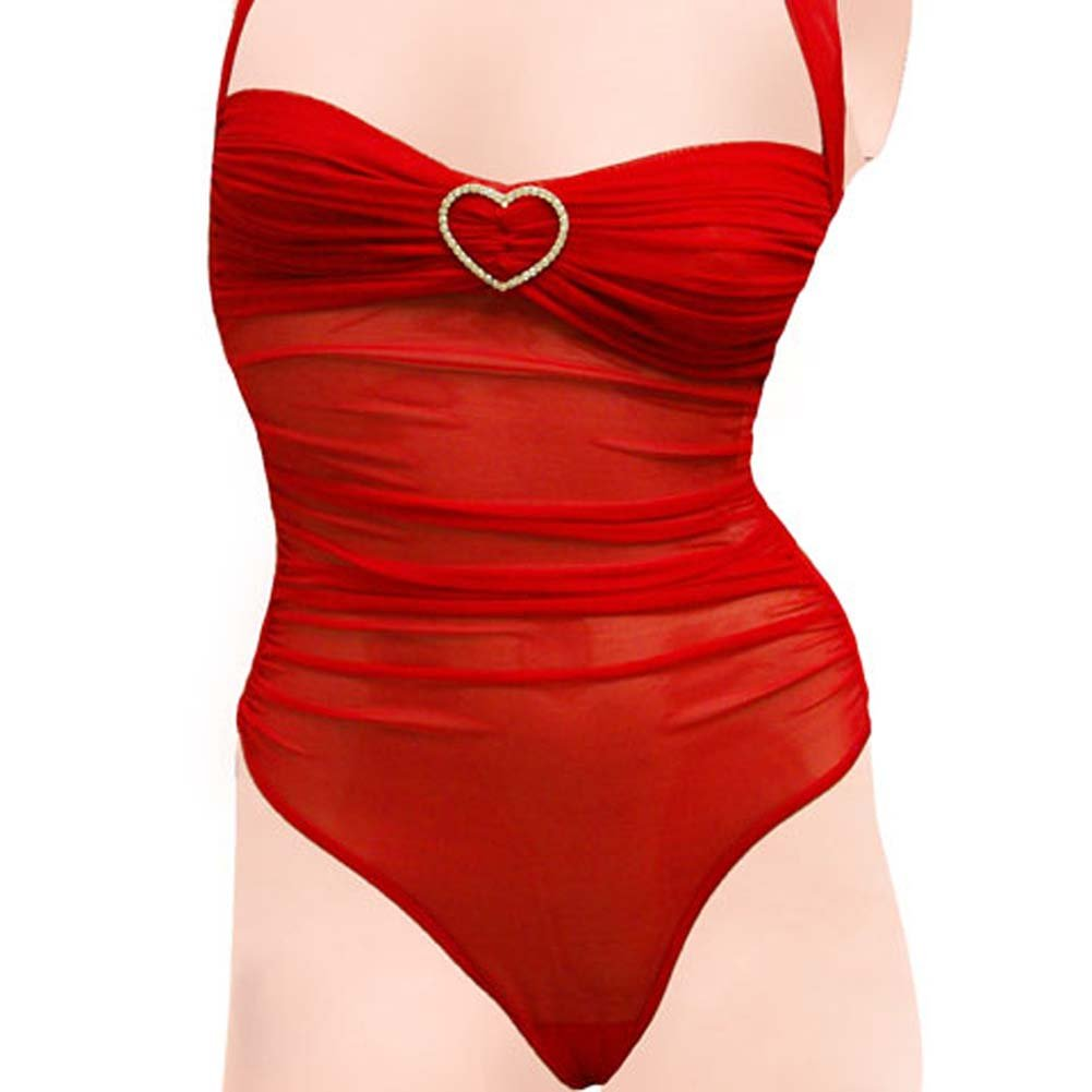 Romantic Mesh Teddy with Rhinestone Hearts Medium Red - View #3