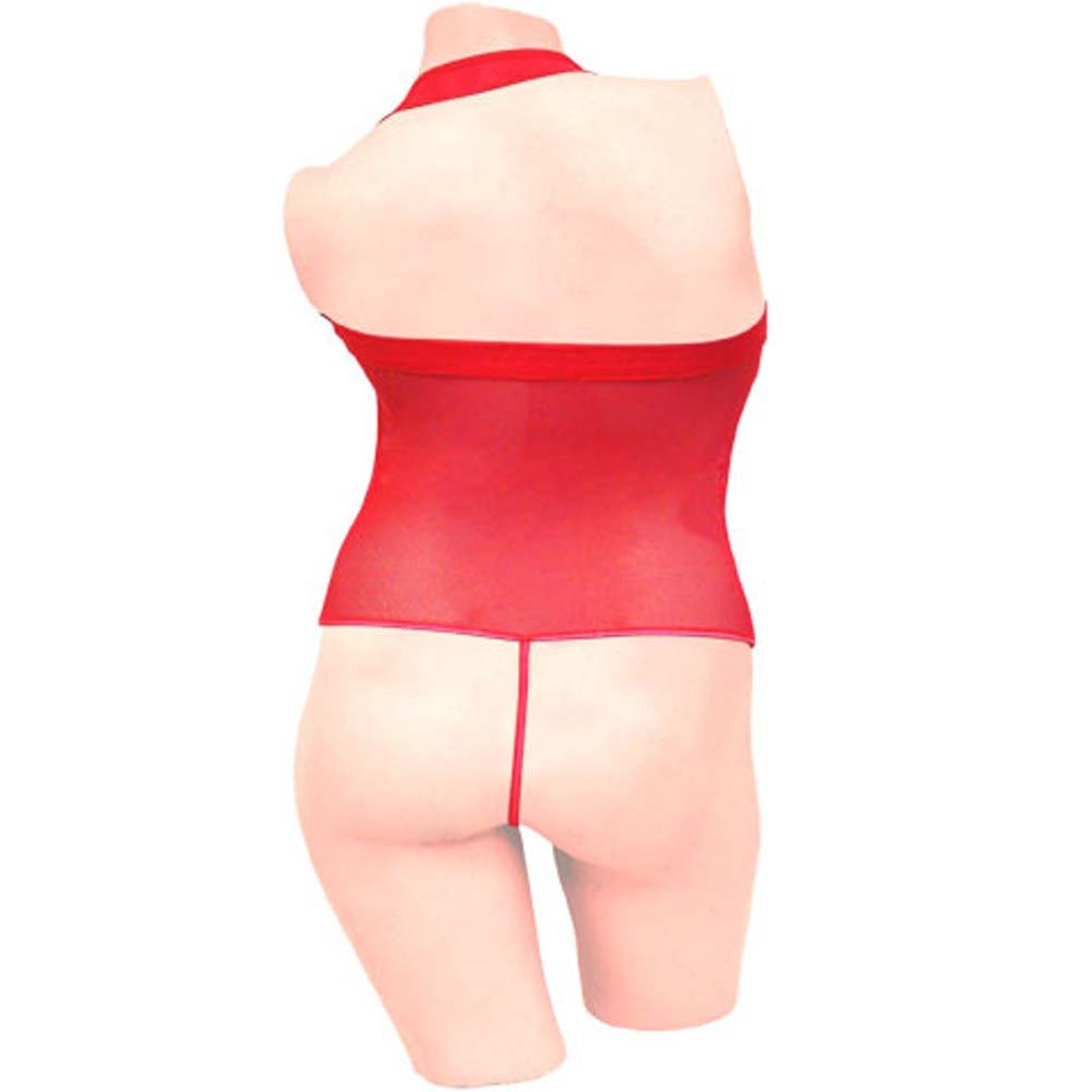 Romantic Mesh Teddy with Thong Red Size Extra Large - View #1