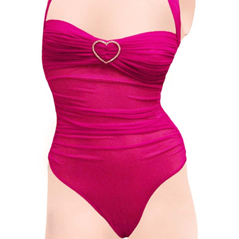 Romantic Mesh Teddy with Rhinestone Hearts Medium Sensual Pink - View #3