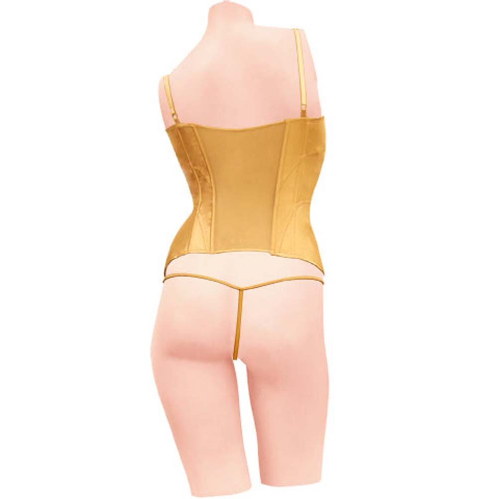 Dear Lady Collection Corset with Lace Cups and Matching Panty Size 32 Gold - View #2