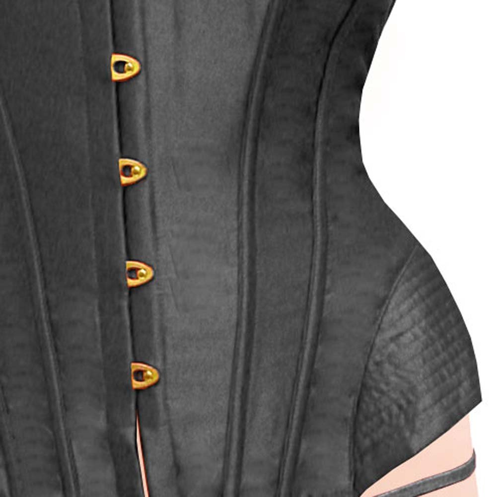 Dear Lady Clubwear Lace Up Back Strapless Corset and G-String Set Size 34 Black - View #3