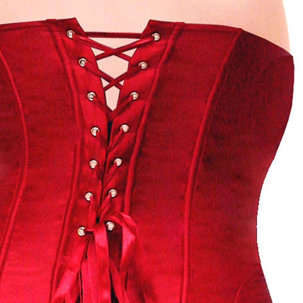 Dear Lady Clubwear Lace Up Back Strapless Corset and G-String Set Size 32 Hot Red - View #4
