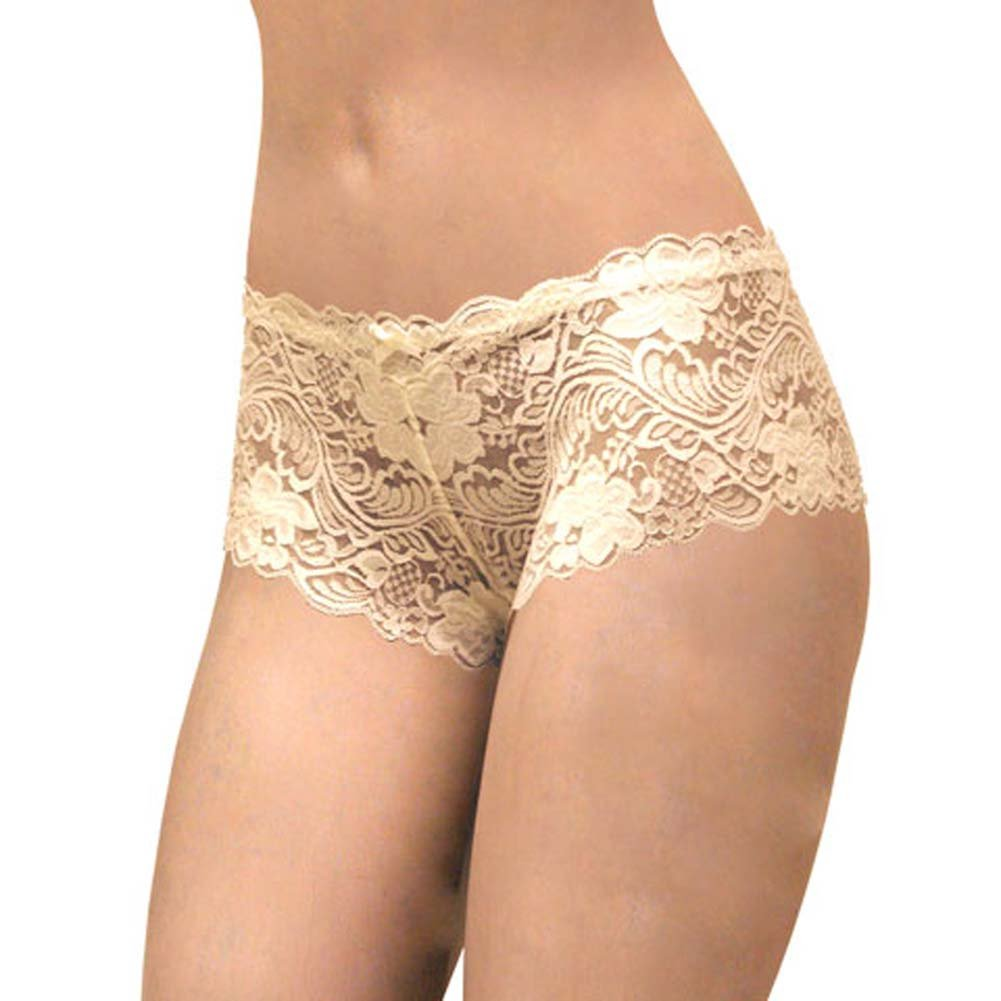 Floral Lace Boy Short Panty for Women Extra Small Ivory Orchids - View #1
