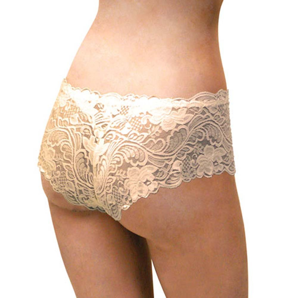 Floral Lace Boy Short Panty for Women Small Ivory Orchids - View #2