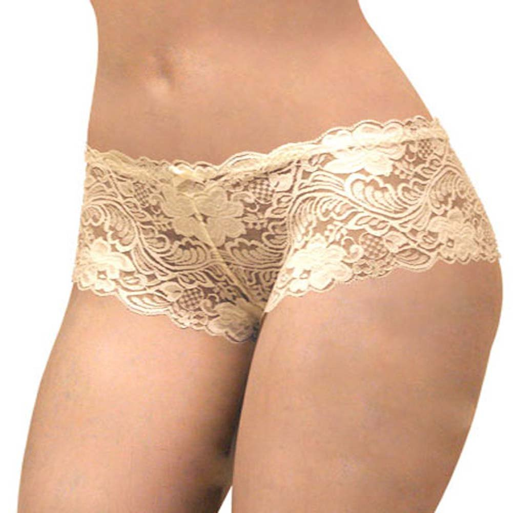 Floral Lace Boy Short Panty Ivory Orchids Extra Large Size - View #2