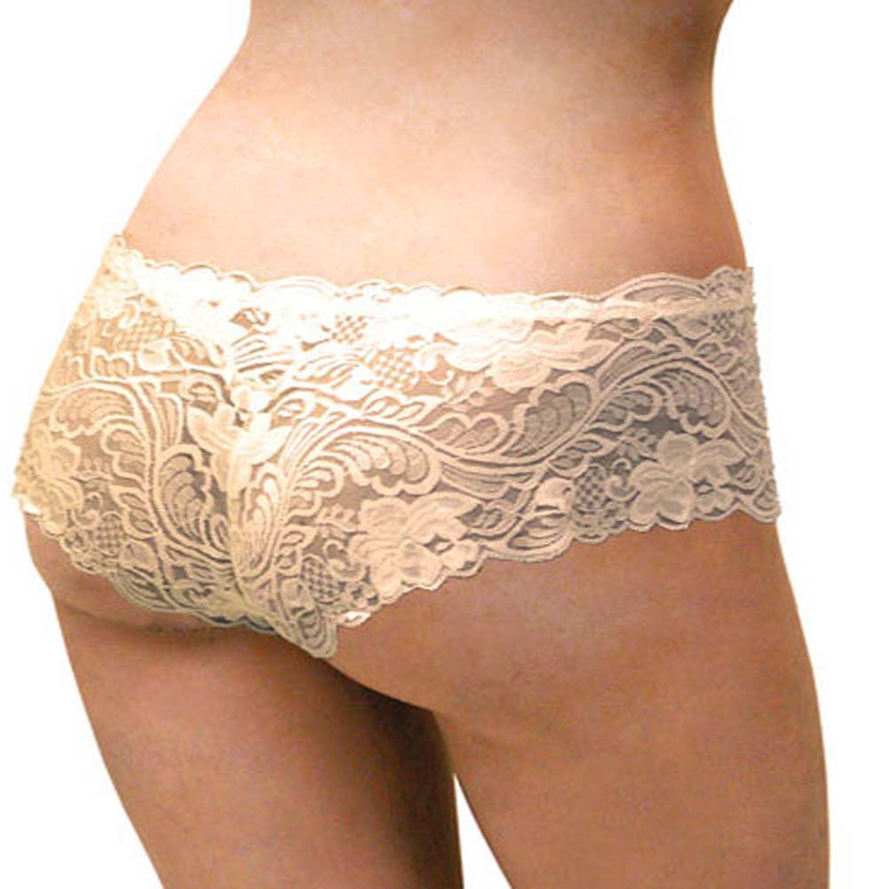 Floral Lace Boy Short Panty Ivory Orchids XX Large Size - View #1