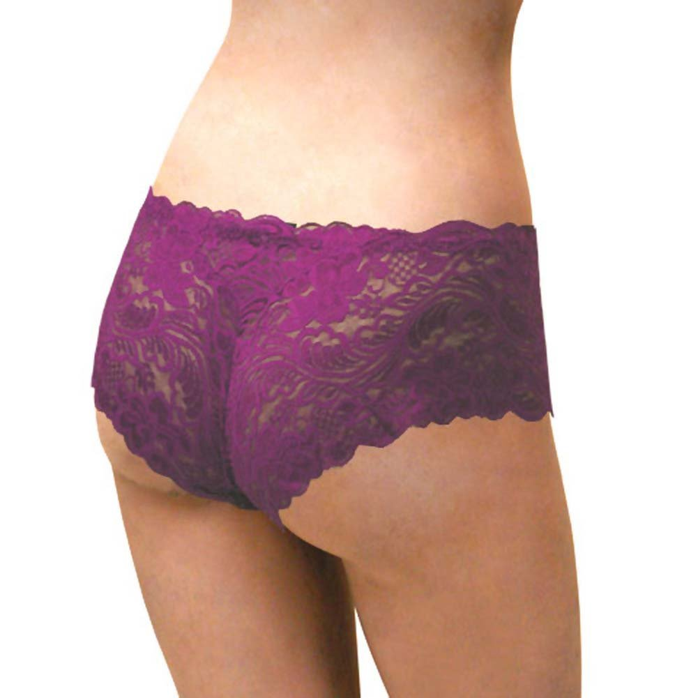 Floral Lace Boy Short Panty for Women Extra Small Purple Lilies - View #2