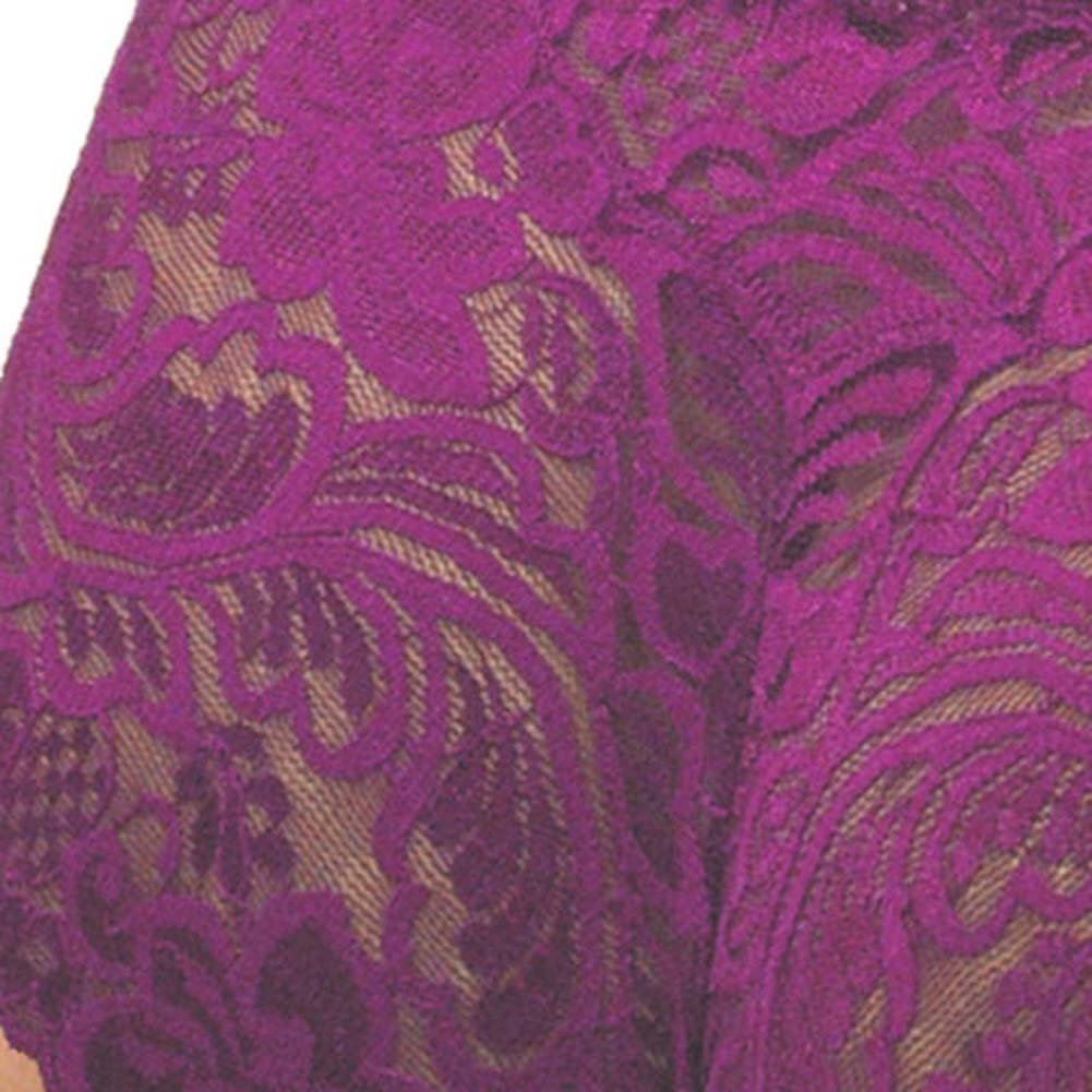 Floral Lace Boy Short Panty Purple Lilies Large Size - View #4