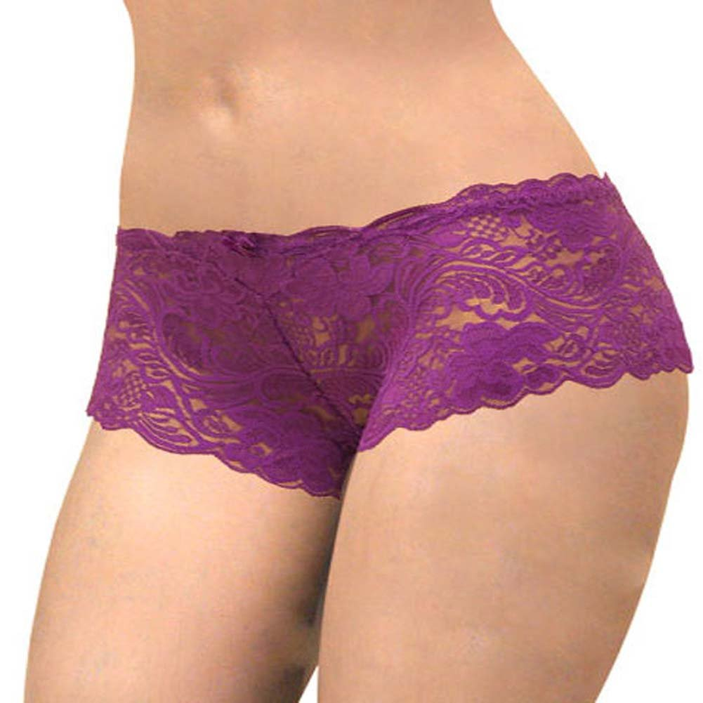 Floral Lace Boy Short Panty Purple Lilies XX Large Size - View #2