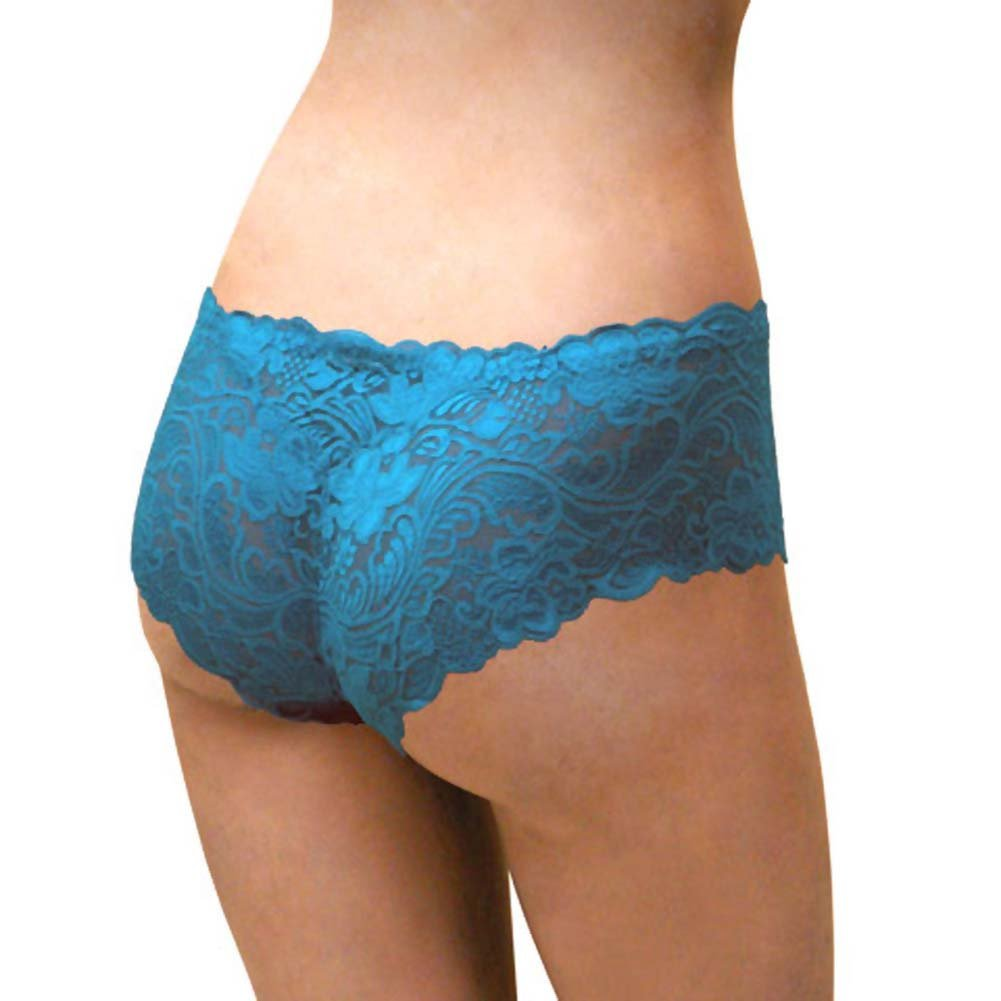Floral Lace Boy Short Panty for Women Small Cool Blue - View #2