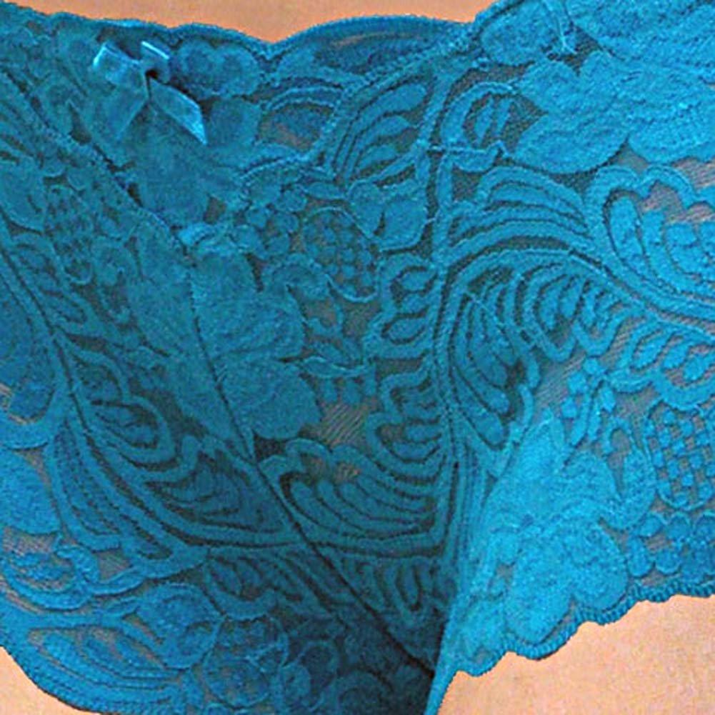 Floral Lace Boy Short Panty for Women Medium Cool Blue - View #3