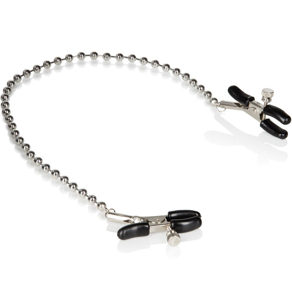 """California Exotics Silver Beaded Nipple Clamps 13"""". - View #3"""