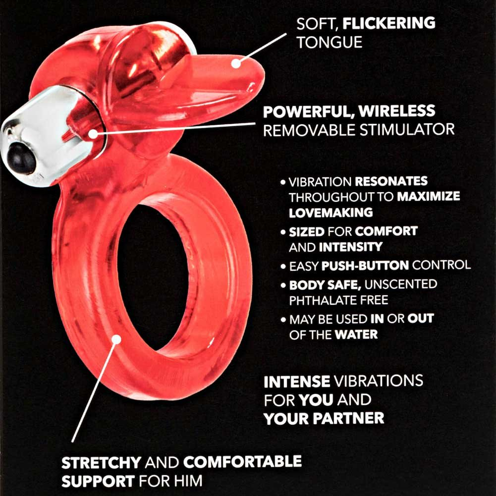 CalExotics Clit Flicker Jelly Cock Ring with Wireless Stimulator Red - View #1