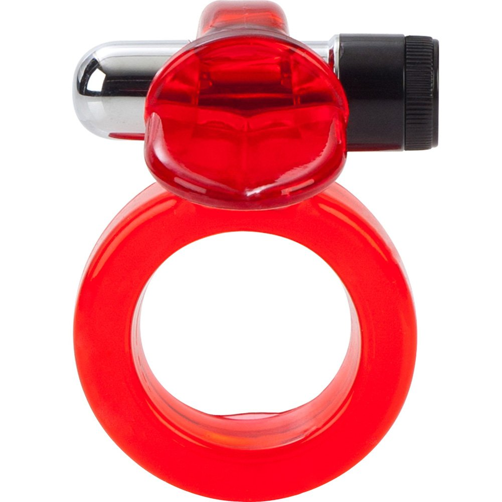 CalExotics Clit Flicker Jelly Cockring with Wireless Stimulator Red - View #3