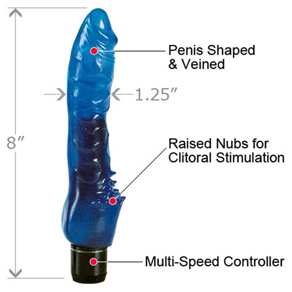 "California Exotics Waterproof Delights Clitterific Intimate Vibrator 8"" Deep Blue - View #1"