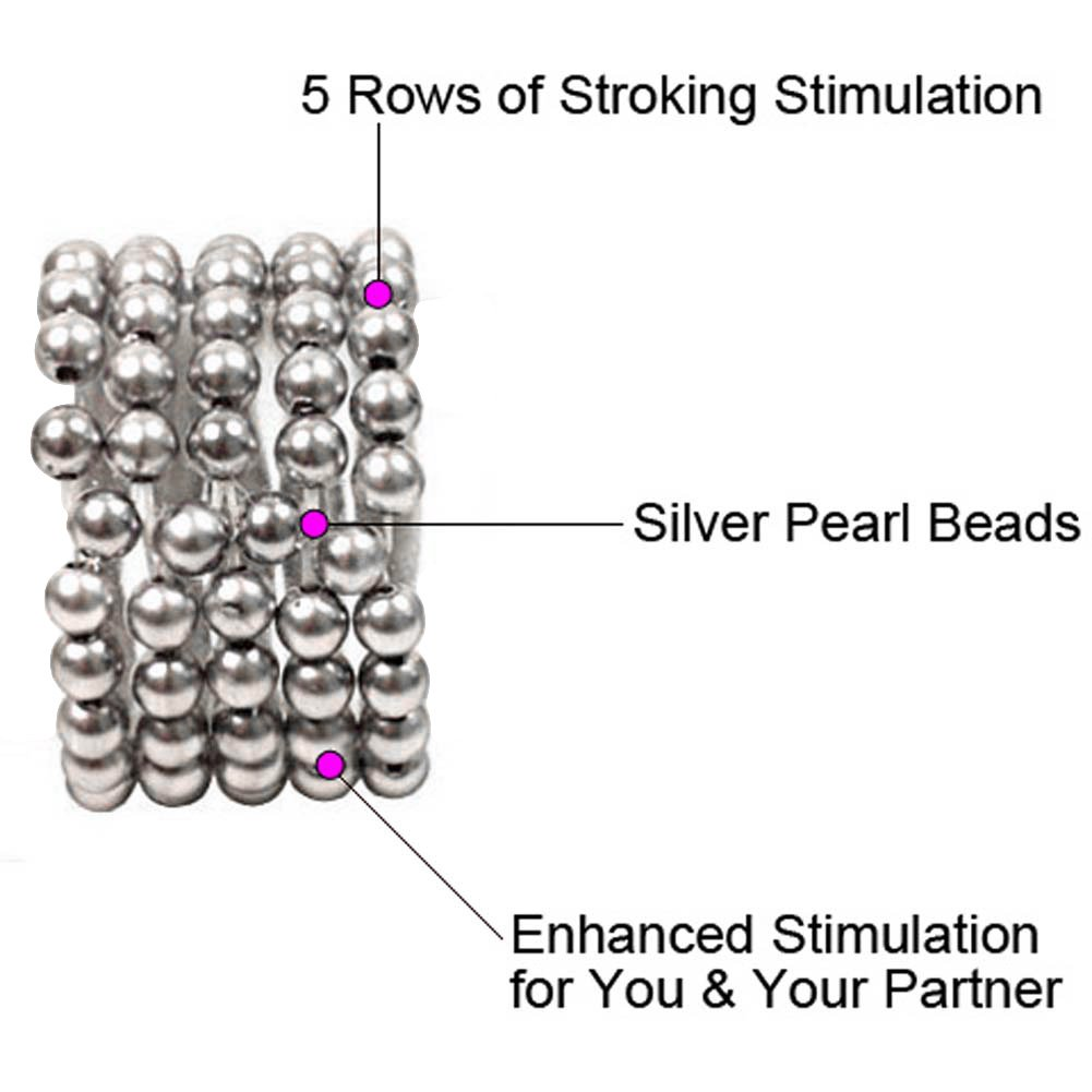 Ultimate Stroker Beaded Erection Support Rings Silver - View #1